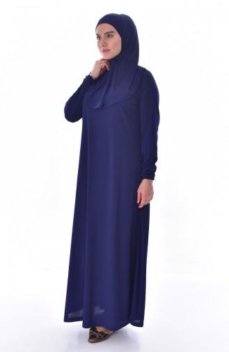 فستان للصلاة موصول بقبعة وبمقاسات كبيرة 4485-04 لون كحلي 4485-04