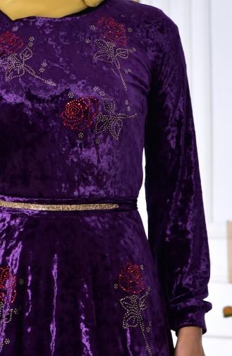 Stone Printed Velvet Dress 28216-04 Purple 28216-04