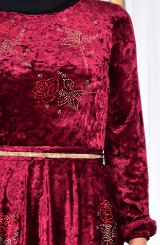 Robe Velours Imprimée de Pierre 28216-01 Plum 28216-01