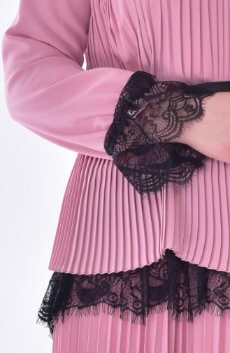 طقم تنورة وبلوز بتصميم طيات 28354-02 لون وردي 28354-02