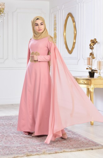 bec4d66331fc7 بورون فستان سهرة يتميز تفاصيل من الؤلؤ 81604-02 لون وردي 81604-02