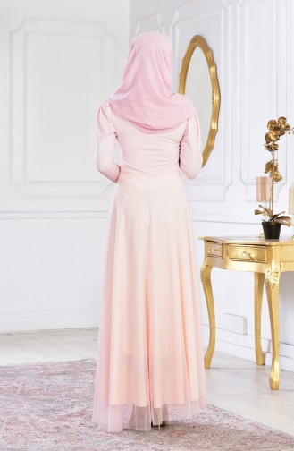 فستان سهرة مُزين ببروش 2586-03 لون وردي 2586-03