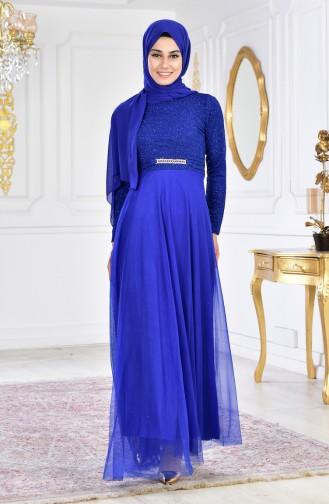 Robe de Soirée a Paillettes et Broche 2539-01 Bleu Roi 2539-01