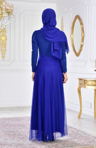 فستان سهرة مُزين ببروش 2586-02 لون ازرق 2586-02
