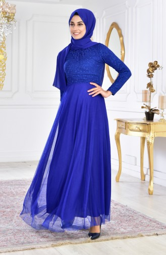 Embroideried Evening Dress 2592-02 Saks 2592-02