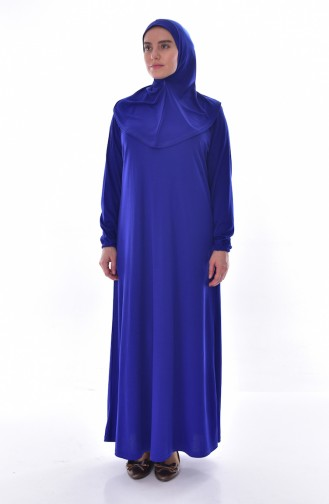 فستان للصلاة موصول بقبعة وبمقاسات كبيرة 4485-01 لون ازرق 4485-01