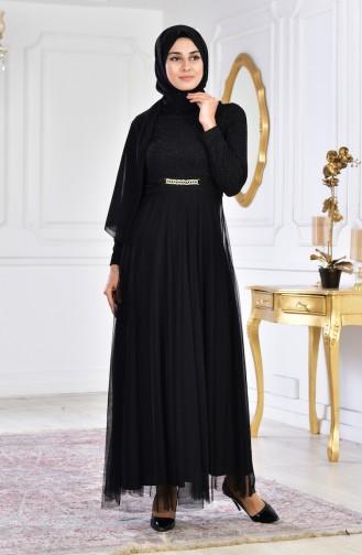 Broşlu Simli Abiye Elbise 2539-02 Siyah 2539-02