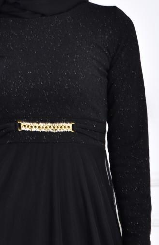 فستان سهرة بتفاصيل لامعة وبروش 2539-02 لون اسود 2539-02