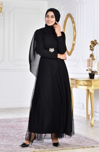 فستان سهرة مُزين ببروش 2586-01لون اسود 2586-01