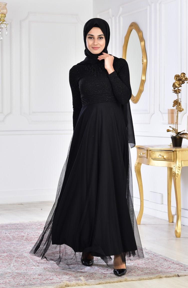 0ab207db5510b فستان سهرة بتفاصيل مُطرزة 2592-03 لون اسود 2592-03