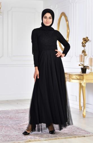فستان سهرة بتفاصيل مُطرزة 2592-03 لون اسود 2592-03