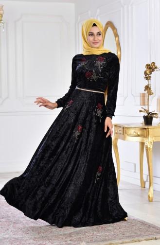 Taş Baskılı Kadife Elbise 28216-05 Siyah 28216-05