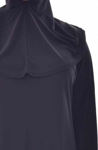 Large Size Hooded Prayer Dress 4485-02 Black 4485-02