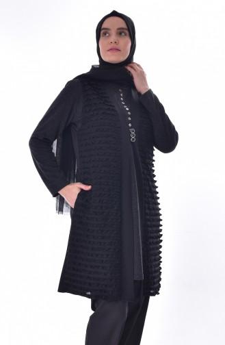 Large Size Ruffled Vest 4753-01 Siyah 4753-01