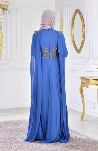 Embroidered Ruched Evening Dress 0102A-05 Indigo 0102A-05