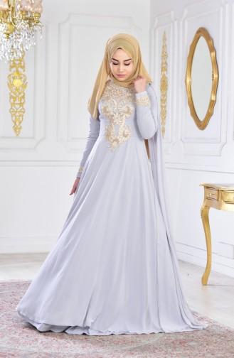 Sequined Evening Dress 0150-02 Gray 0150-02
