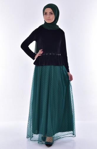 Kadife İkili Takım 24330-01 Siyah Yeşil