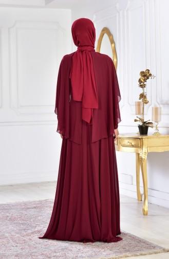 فستان سهرة بتفاصيل مُطرزة بالخرز 1009-04 لون خمري 1009-04