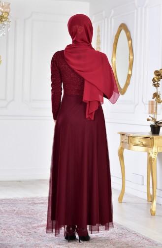 فستان سهرة مُزين ببروش 2586-04 لون خمري 2586-04