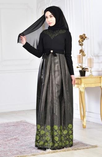 Taş Baskılı Abiye Elbise 2068-01 Siyah Haki 2068-01
