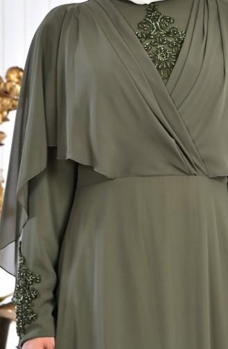 Khaki Islamic Clothing Evening Dress 1009-02