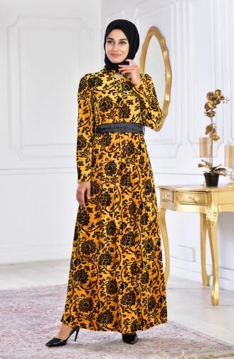 Büyük Beden Broşlu Kadife Elbise 2135-02 Hardal 2135-02
