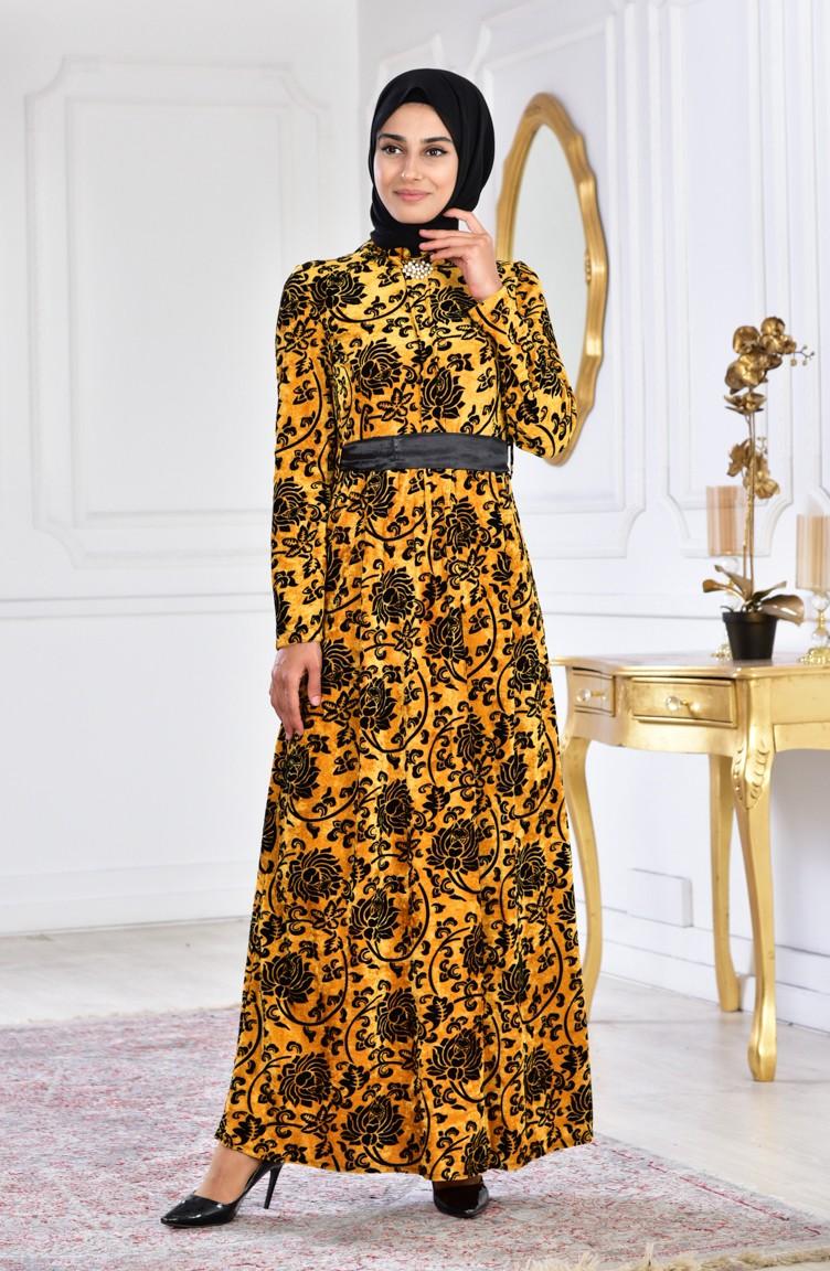 Large Size Brooch Velvet Dress 2135 02 Mustard 2135 02 Sefamerve