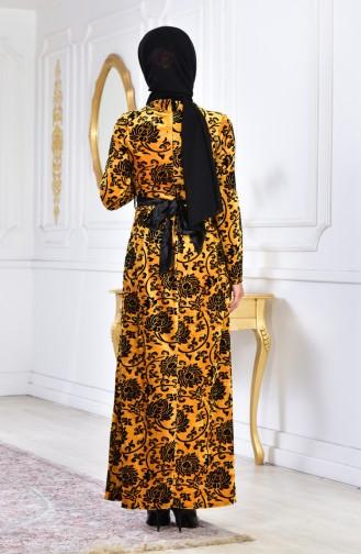 Robe Velours avec Broche Grande Taille 2135-02 Moutarde 2135-02