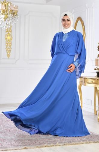 Indigo Islamic Clothing Evening Dress 1009-01