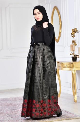 Rot Hijab-Abendkleider 2068-03