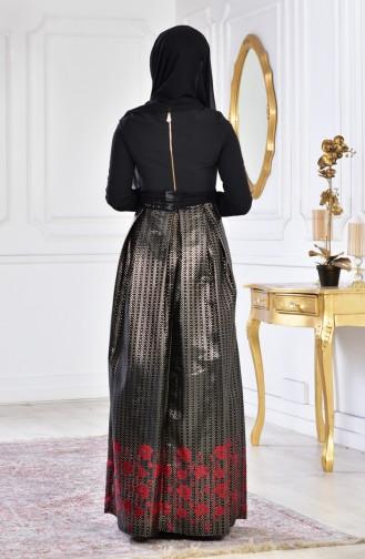 Stone Printed Evening Dress 2068-03 Black Red 2068-03