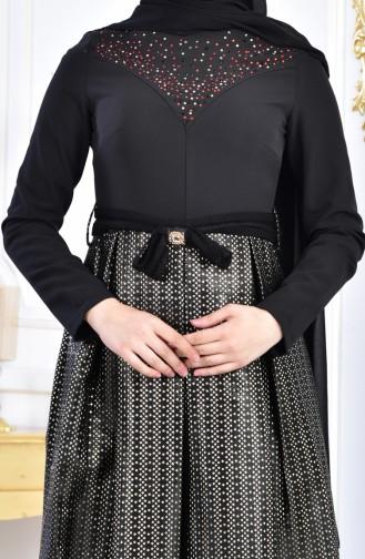 فستان سهرة بتصميم مُطبع باحجار لامعة  2068-03 لون اسود واحمر 2068-03