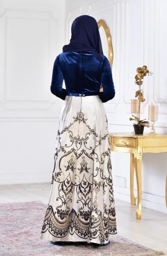 فستان سهرة مخمل بتصميم حزام للخصر 3014-01 لون كحلي 3014-01