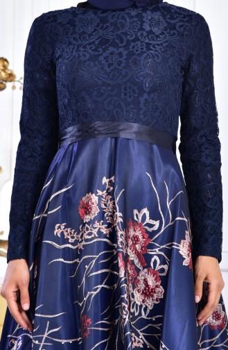 Robe de Soirée a Dentelle 3307-01 Bleu Marine 3307-01