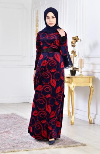 فستان مخمل بتصميم حزام للخصر 3016-04 لون كحلي 3016-04