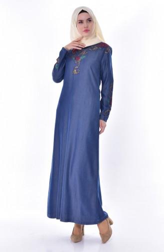 فستان جينز بتفاصيل احجار لامعة 9139-01 لون كحلي 9139-01
