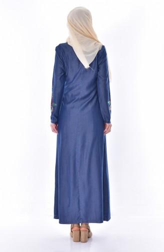 Robe Jean Imprimée de Pierre 9139-01 Bleu Marine 9139-01
