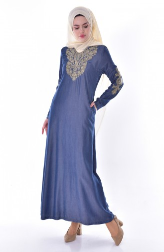 Stone Printed Embroidered Denim Dress 9139A-01 Navy Blue 9139A-01