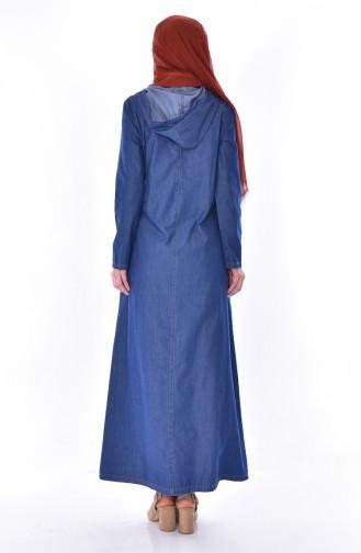 Kapüşonlu Nakışlı Kot Elbise 9203-01 Lacivert 9203-01