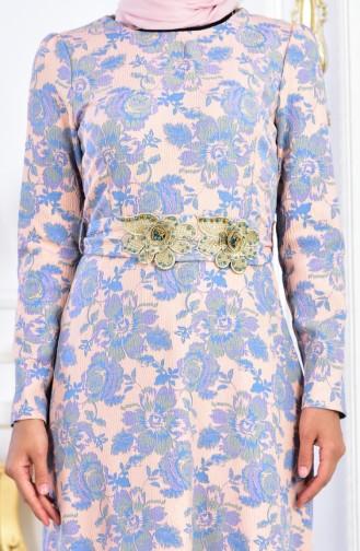 Robe Fleuries a Ceinture 2348A-02 Poudre Bleu 2348A-02