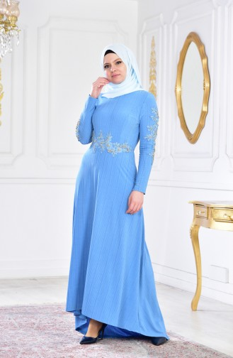 İncili Abiye Elbise 6100A-01 Mavi 6100A-01