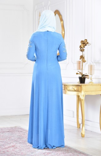 فستان سهرة يتميز تفاصيل من الؤلؤ 6100A-01لون ازرق 6100A-01