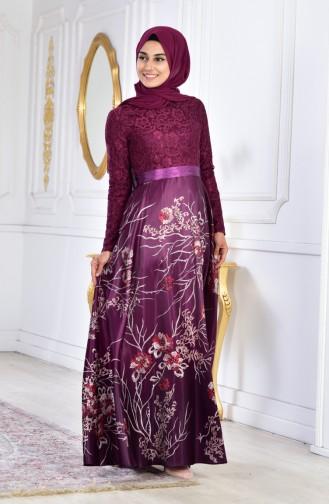 Robe de Soirée a Dentelle 3307-02 Pourpre 3307-02