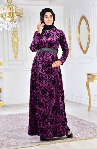Büyük Beden Broşlu Kadife Elbise 2135-04 Mor 2135-04