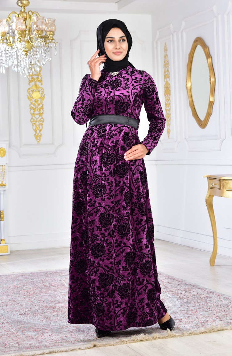 df10044e315c Large Size Brooch Velvet Dress 2135-04 Purple 2135-04