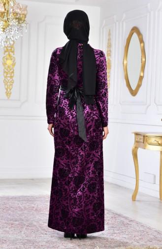 Large Size Brooch Velvet Dress 2135-04 Purple 2135-04