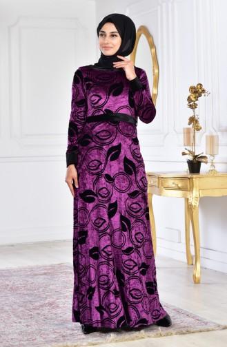 فستان مخمل بتصميم حزام للخصر 3016-03 لون بنفسجي 3016-03