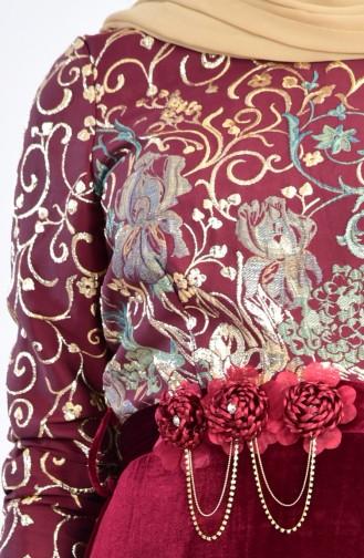Robe de Soirée Jacquard 3015A-01 Plum 3015A-01