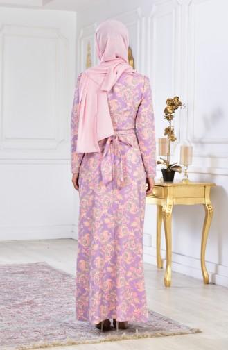 Robe Fleuries a Ceinture 2348A-01 Poudre Lila 2348A-01