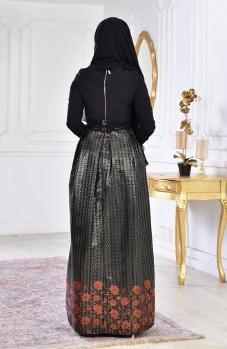 Robe de Soirée Imprimée de Pierre 2068-02 Noir Brique 2068-02